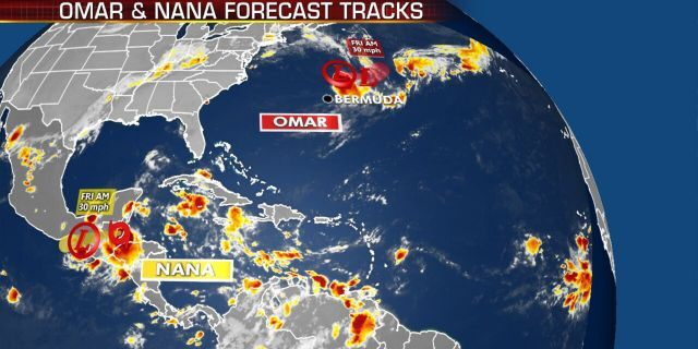 The current tropical activity in the Atlantic basin.
