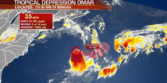 Omar has now weakened to a tropical depression as it passes north of Bermuda.