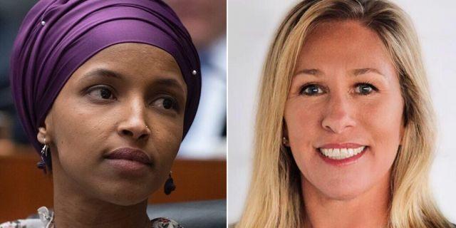 Rep. Ilhan Omar, D-Minn., and congressional candidate Marjorie Greene, R-Ga.