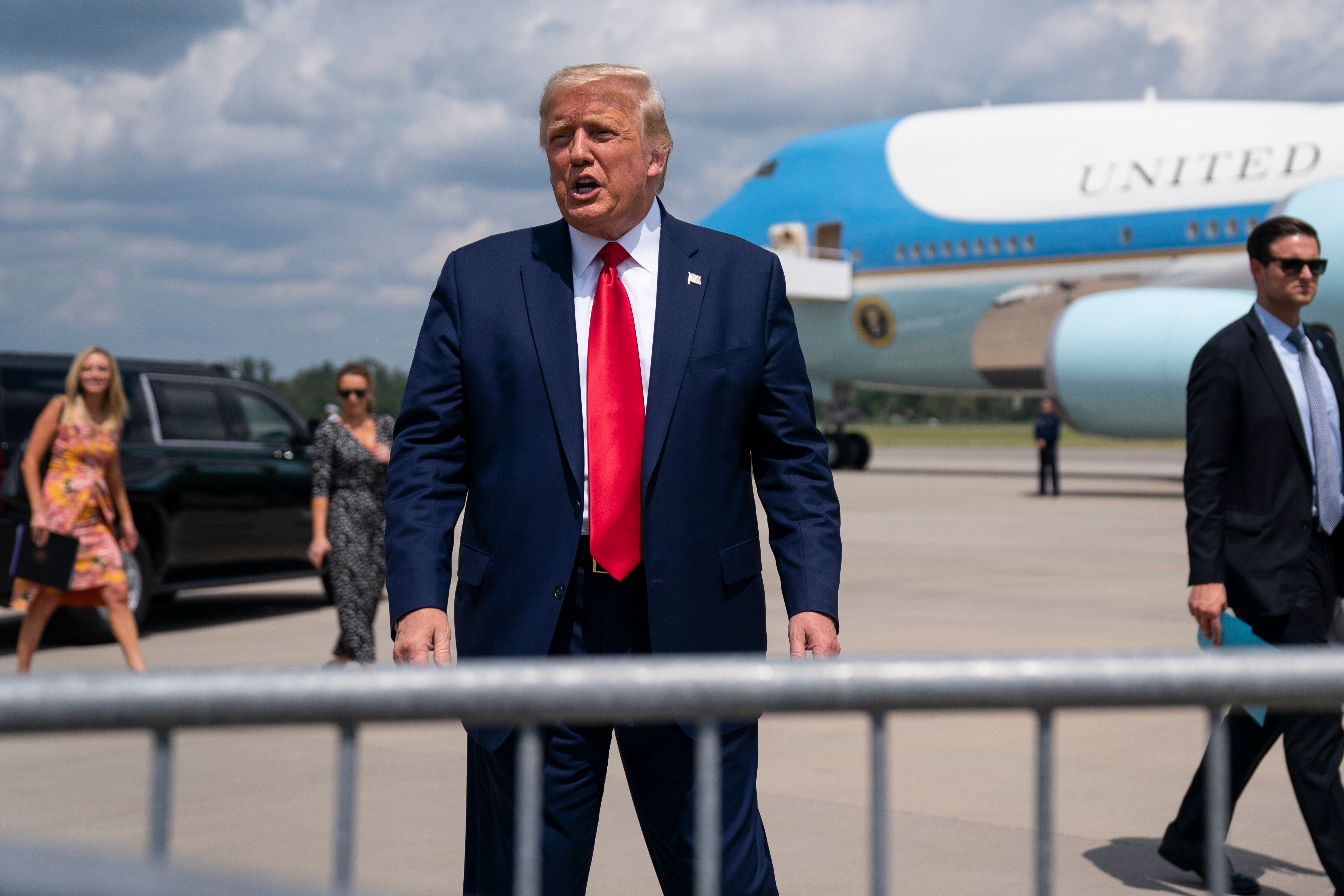 """President Donald Trump falsely claims that mail-in and absentee voting is """"fraudulent,"""" and, """"corrupt."""" (AP Photo/Evan Vucci)"""