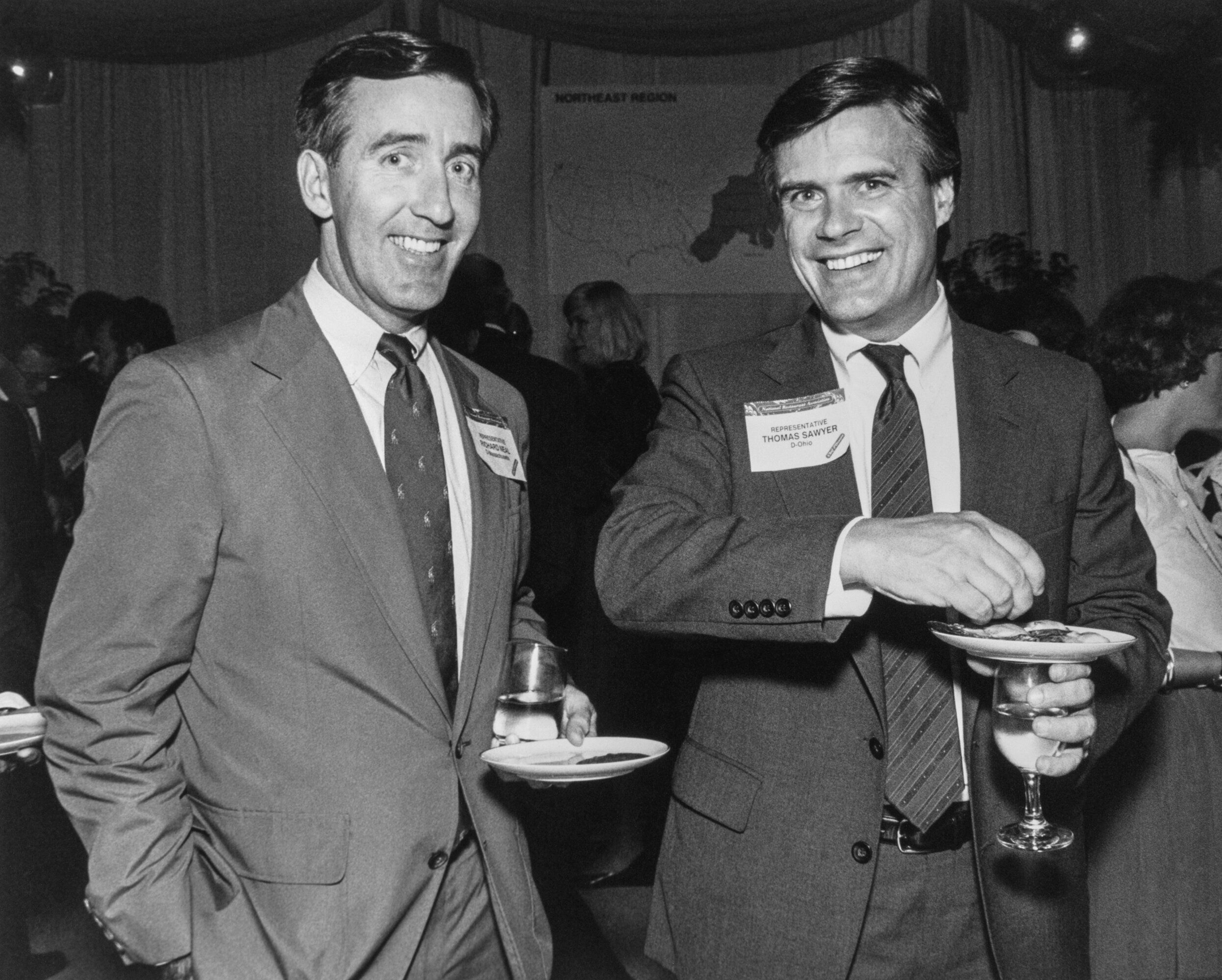 Rep. Richard Neal (D-Mass.), left, at a political event in September 1989, during his first term in Congress. He remains popu