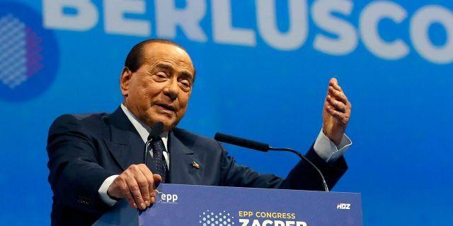 In this Nov. 21, 2019 file photo, Silvio Berlusconi, Italian former Premier and President of Forza Italia (Go Italy) party speaks during the European Peoples Party (EPP) congress in Zagreb, Croatia. (AP Photo/Darko Vojinovic, file)