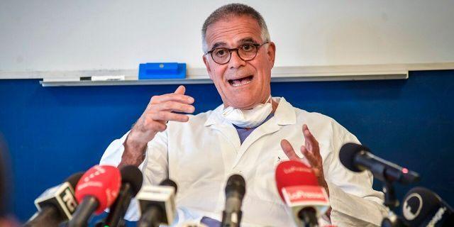 Alberto Zangrillo, Silvio Berlusconi's longtime physician, talks to reporters at the San Raffaele hospital in Milan, Friday, Sept. 4, 2020. (Claudio Furlan/LaPresse via AP)