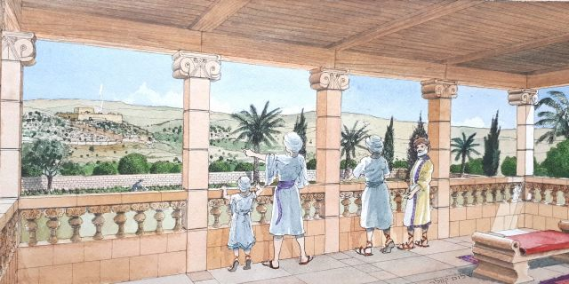 Artist's impression of the royal estate that stood in Armon Hanatziv, Jerusalem.