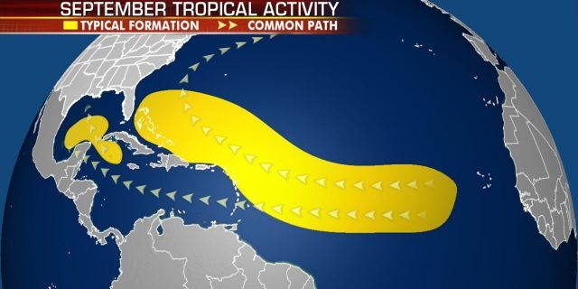 Where tropical systems tend to develop in the month of September.