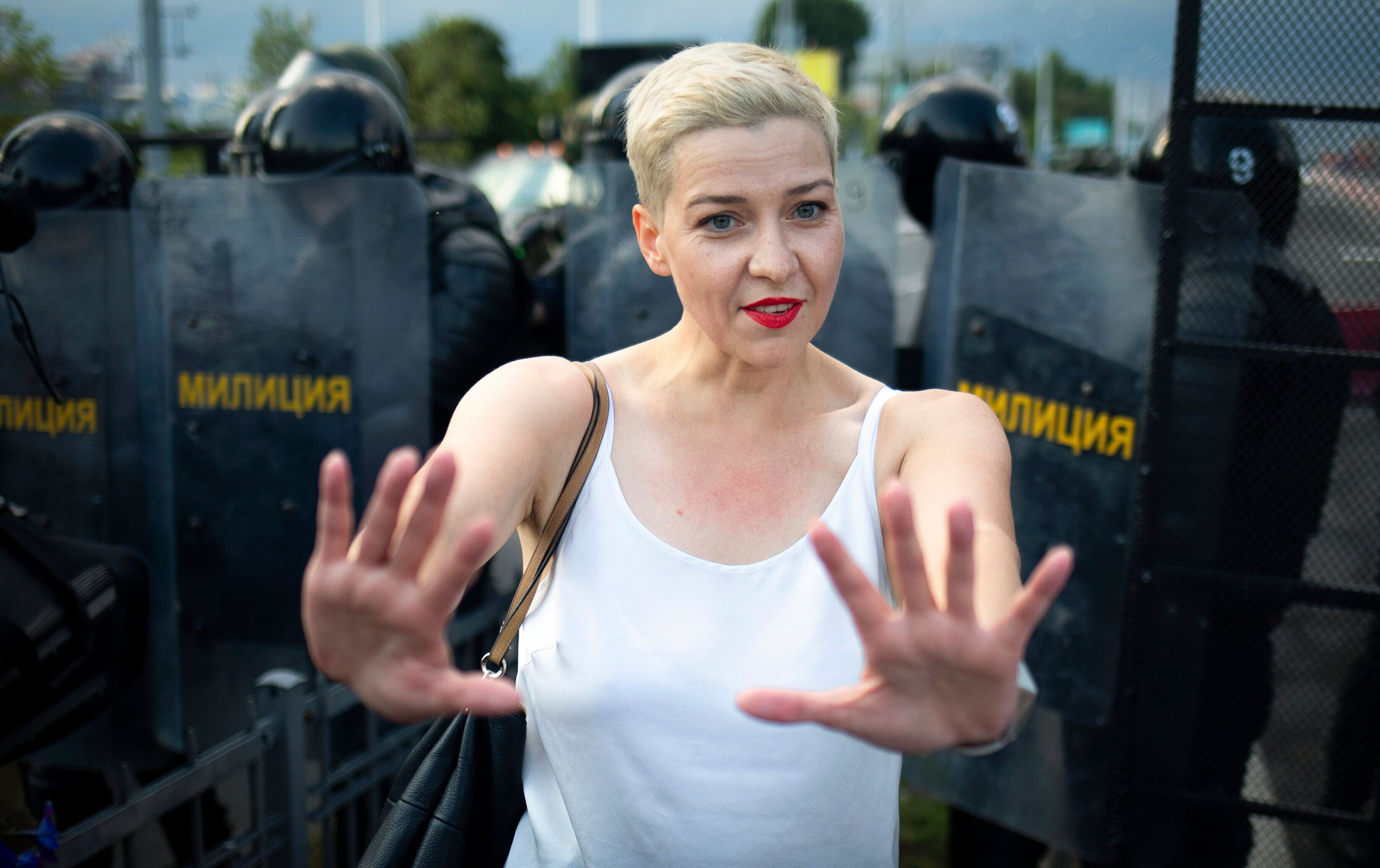 Maria Kolesnikova, one of Belarus' opposition leaders, center, gestures during a rally in Minsk, Belarus, on Aug. 30, 2020.