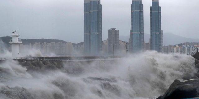 High waves crash shore as Typhoon Haishen approaches in Busan, South Korea, Monday, Sept. 7, 2020.