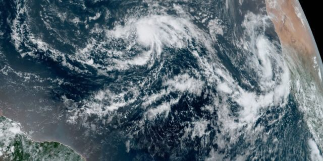 Tropical Storm Paulette can be seen over the central Atlantic Ocean on Sept. 7, 2020.
