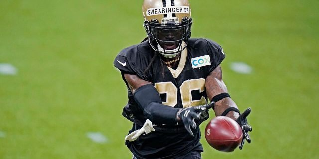 New Orleans Saints safety D.J. Swearinger (36) goes through drills during NFL football practice in New Orleans, Thursday, Sept. 3, 2020. (AP Photo/Gerald Herbert, Pool)