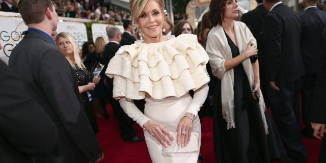 Jane Fonda arrives to the 73rd Annual Golden Globe Awards held at the Beverly Hilton Hotel.