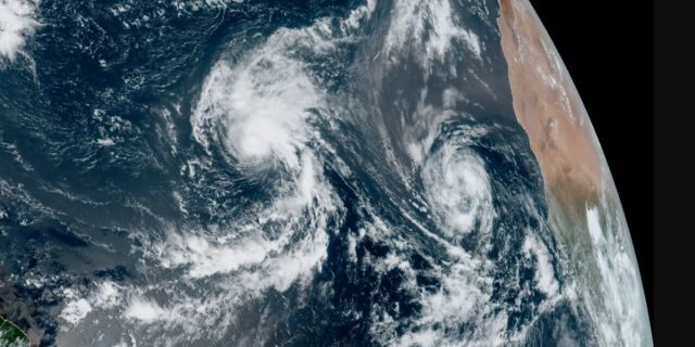 Tropical Storms Rene and Paulette can be seen over the Atlantic Ocean on Tuesday, Sept. 8, 2020.