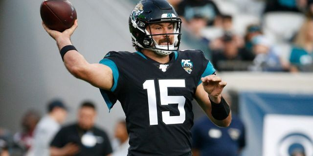 Jacksonville Jaguars quarterback Gardner Minshew II (15) throws a pass against the Indianapolis Colts during the first half of an NFL football game, Sunday, Dec. 29, 2019, in Jacksonville, Fla. (AP Photo/Stephen B. Morton)