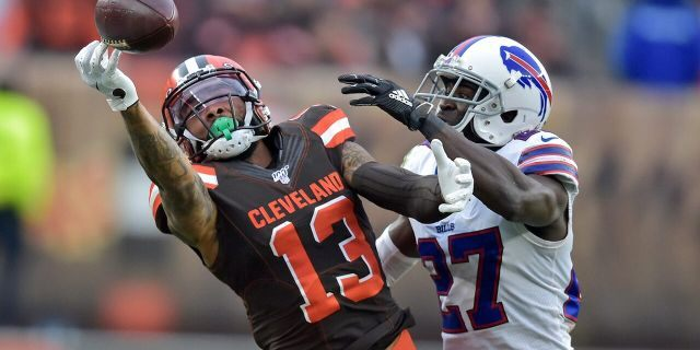 Buffalo Bills cornerback Tre'Davious White (27) breaks up a pass intended for Cleveland Browns wide receiver Odell Beckham Jr. (13) during the second half of an NFL football game, Sunday, Nov. 10, 2019, in Cleveland. (AP Photo/David Richard)