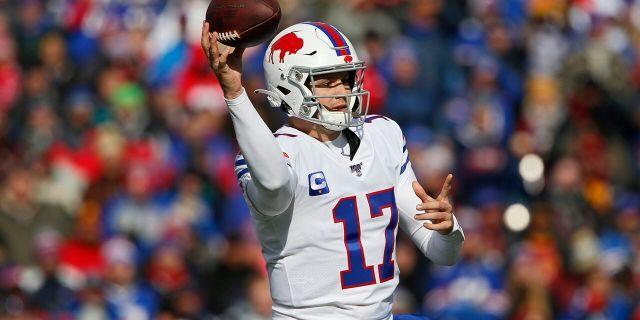 Buffalo Bills quarterback Josh Allen (17) throws during the first half of an NFL football game against the Washington Redskins, Sunday, Nov. 3, 2019, in Orchard Park, N.Y. (AP Photo/John Munson)