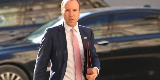 Britain's Health Secretary Matt Hancock arrives to attend a cabinet meeting of senior government ministers at the Foreign and Commonwealth Office FCO in London, Tuesday Sept. 1, 2020. (Toby Melville/Pool via AP)