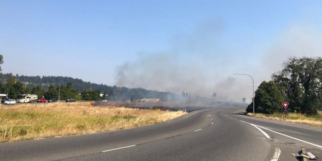 A man was arrested in Puyallup, Wash. on Wednesday after he was caught setting a fire in the median of a state highway.