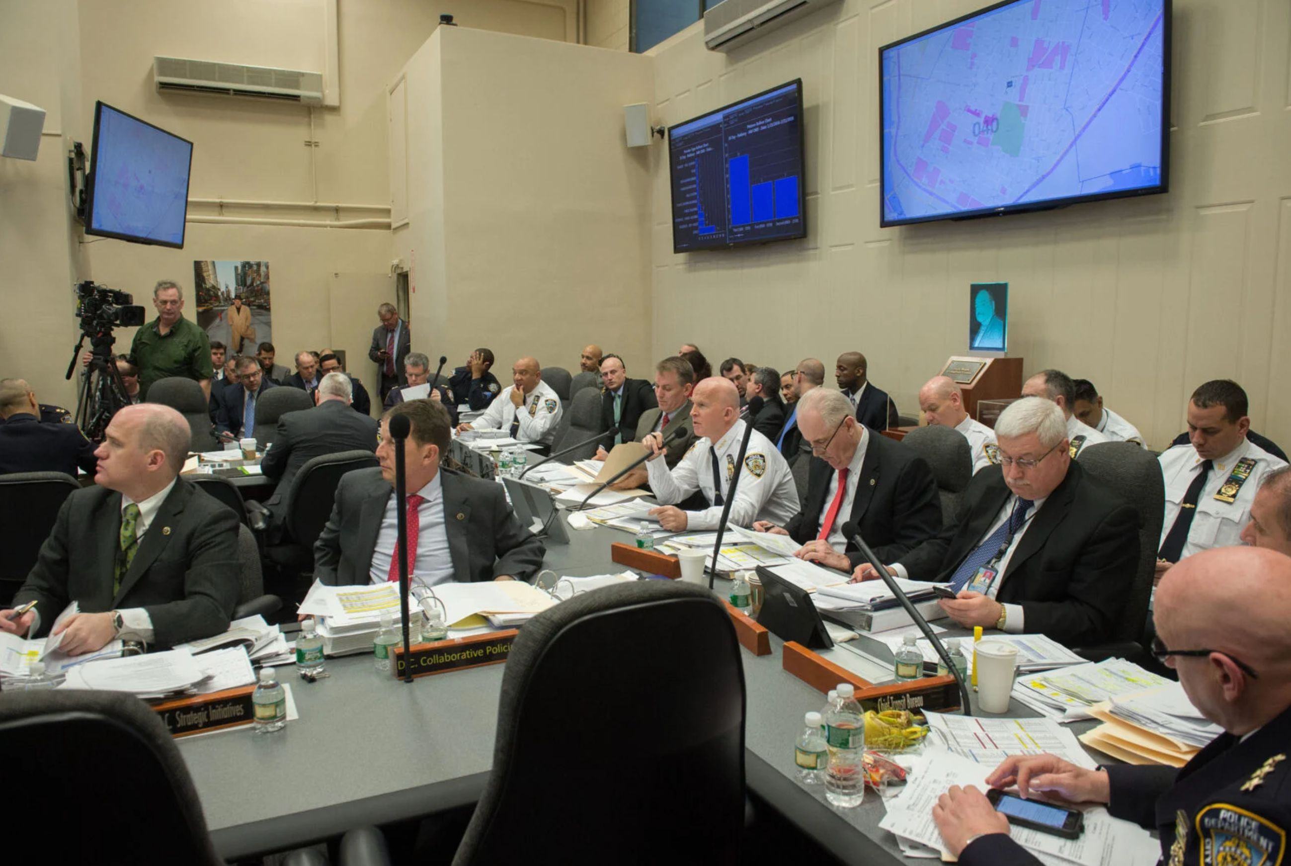 CompStat sessions, like this one in 2016, could be crucial for commanders seeking to impress top NYPD leaders, such as then-C