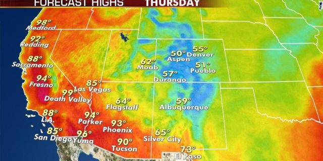 Forecast high temperatures for Thursday, Sept. 10, 2020.