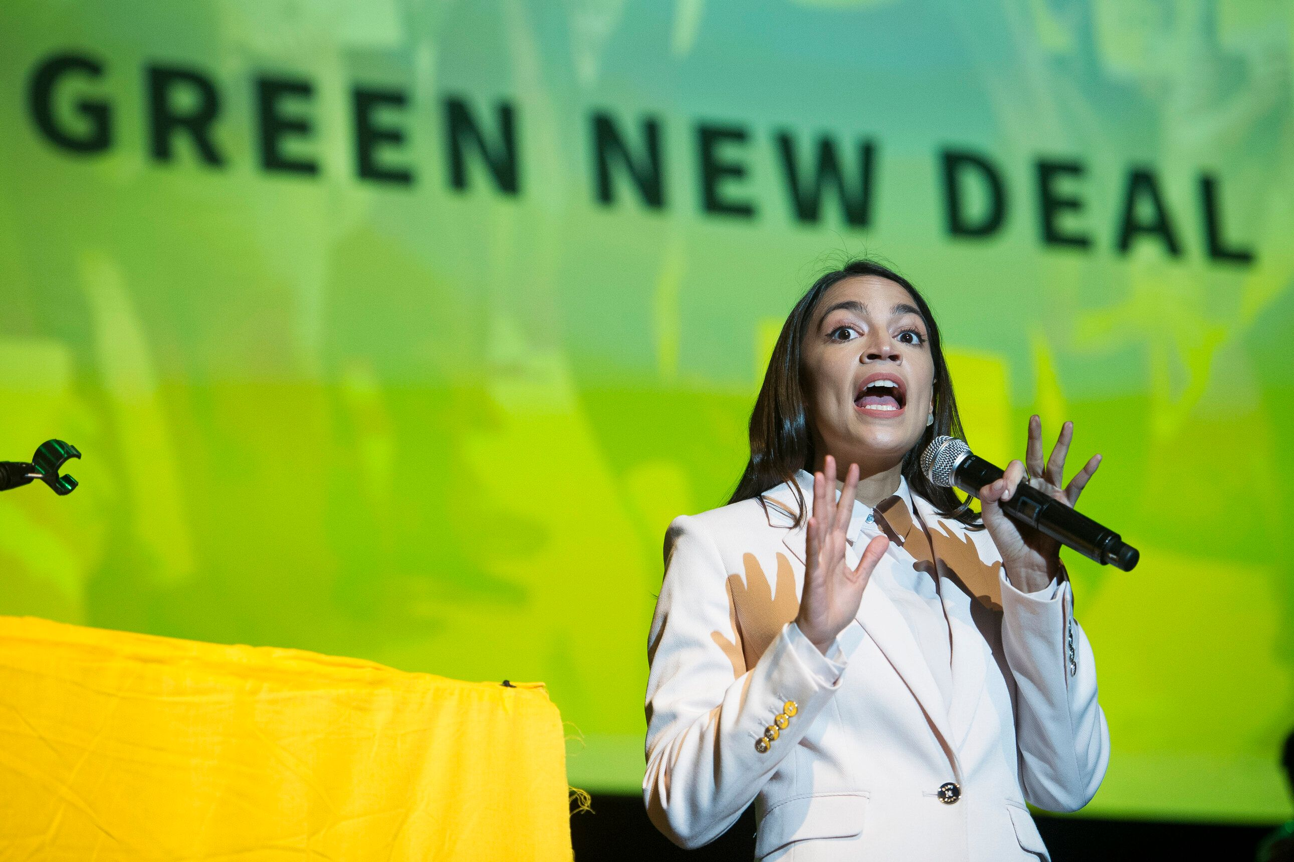 Rep. Alexandria Ocasio-Cortez addresses the final event of the Road to the Green New Deal Tour at Howard University in Washin