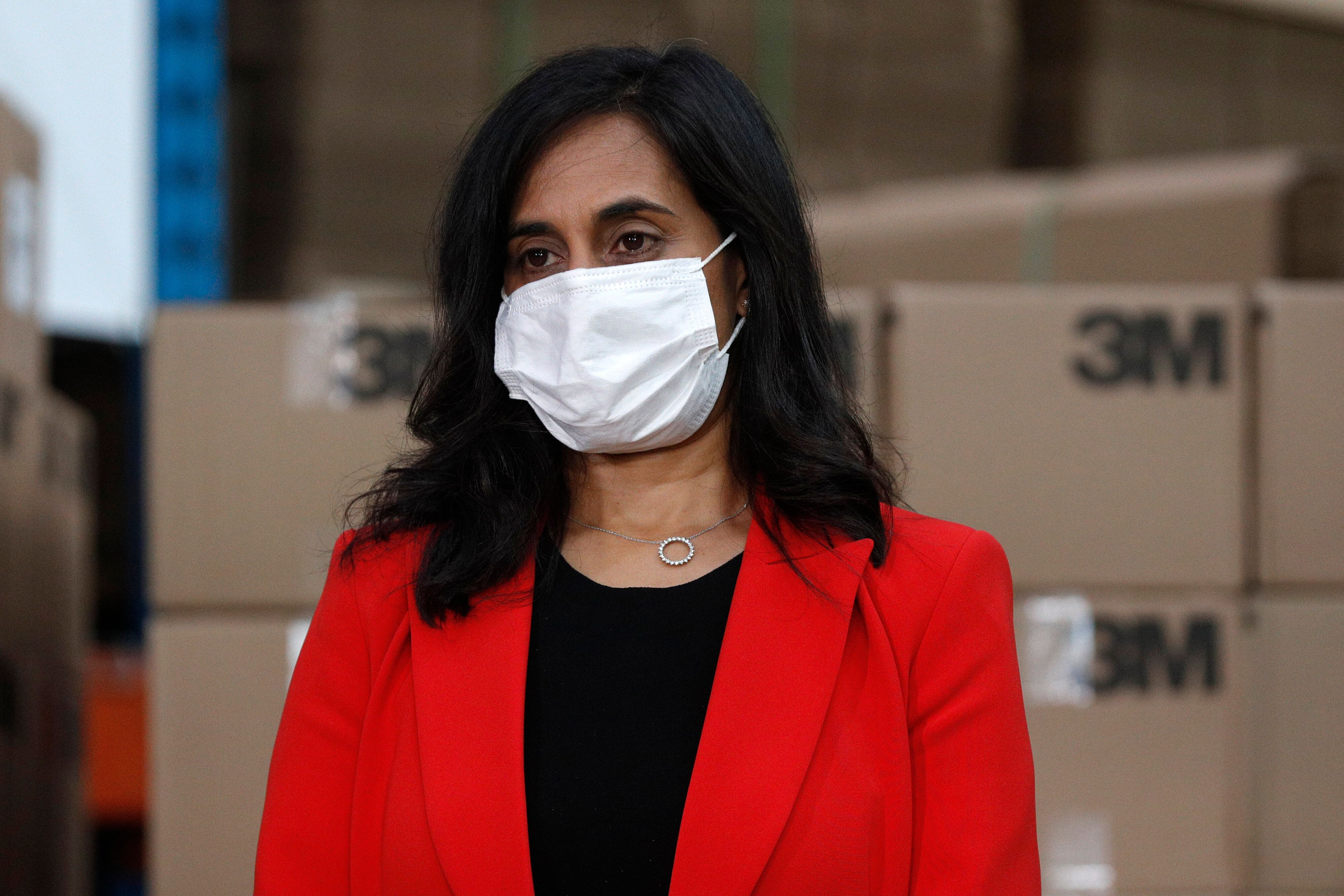 Public Services and Procurement Minister Anita Anand wears a mask during an announcement at the 3M plant in Brockville, Ont.