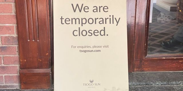 Many hotels in Johannesburg have closed their doors for the time being.