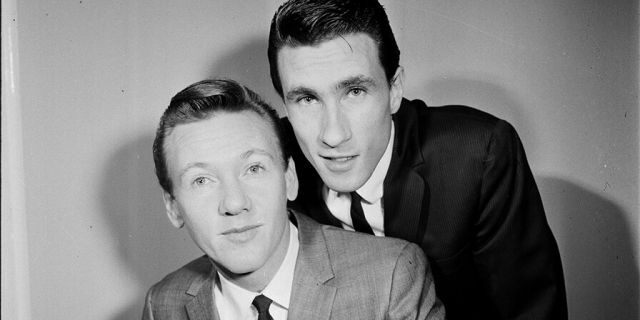 Bobby Hatfield (front) and Bill Medley of The Righteous Brothers, backstage, London, 1965.