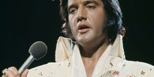 Elvis Presley (1935 - 1977) performing in the 'Aloha from Hawaii Via Satellite', televised concert at the Honolulu International Center, Hawaii, 14th January 1973.