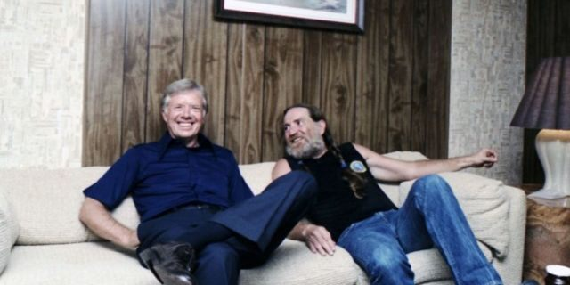 Former President Jimmy Carter and country singer Willie Nelson. (Carter Presidential Library)