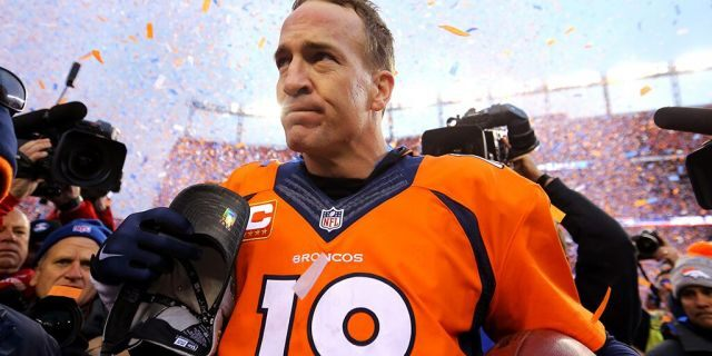 Peyton Manning #18 of the Denver Broncos walks off the field after defeating the New England Patriots in the AFC Championship game at Sports Authority Field at Mile High on January 24, 2016 in Denver, Colorado. The Broncos defeated the Patriots 20-18. (Photo by Justin Edmonds/Getty Images)