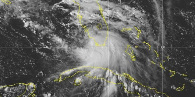 This Saturday, Sept. 12, 2020 image provided by NOAA shows the formation of Tropical Storm Sally. Tropical Storm Sally has formed off south Florida, becoming the earliest 18th-named tropical storm on record in a busy Atlantic hurricane season.