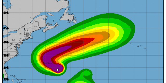 NOAA/National Weather Service graphic showing the probability of tropical storm-force winds associated with Hurricane Paulette.