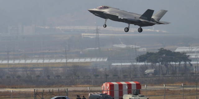 In this March 29, 2019, photo, a U.S. F-35A fighter jet prepares to land at Chungju Air Base in Chungju, South Korea. (Kang Jong-min/Newsis via AP)