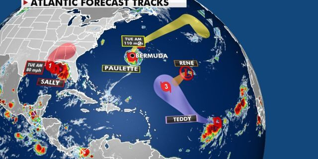 Tropical activity in the Atlantic basin on Sept. 14, 2020.