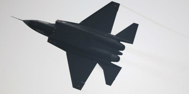 A Chinese J-31 stealth fighter performs at the Airshow China 2014 in Zhuhai, south China's Guangdong province on November 11, 2014 - file photo.