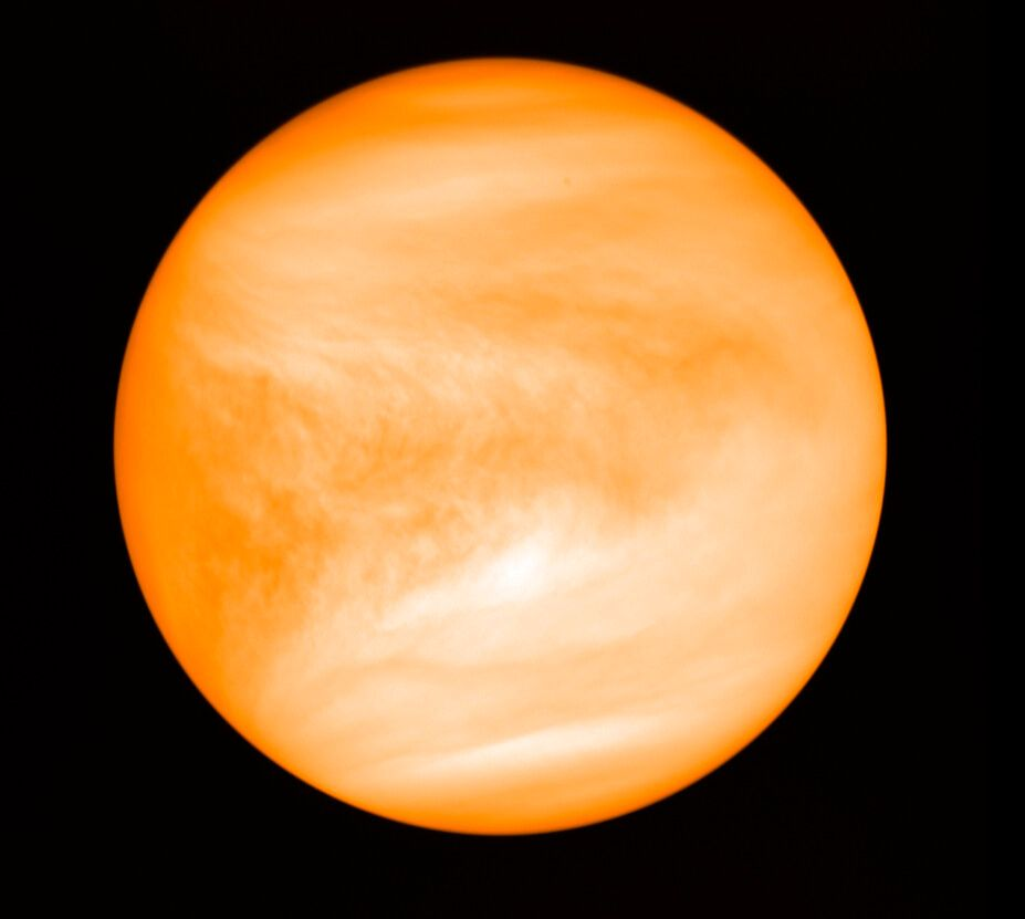 This May 2016 photo provided by researcher Jane Greaves shows the planet Venus, seen from the Japan Aerospace Exploration Age