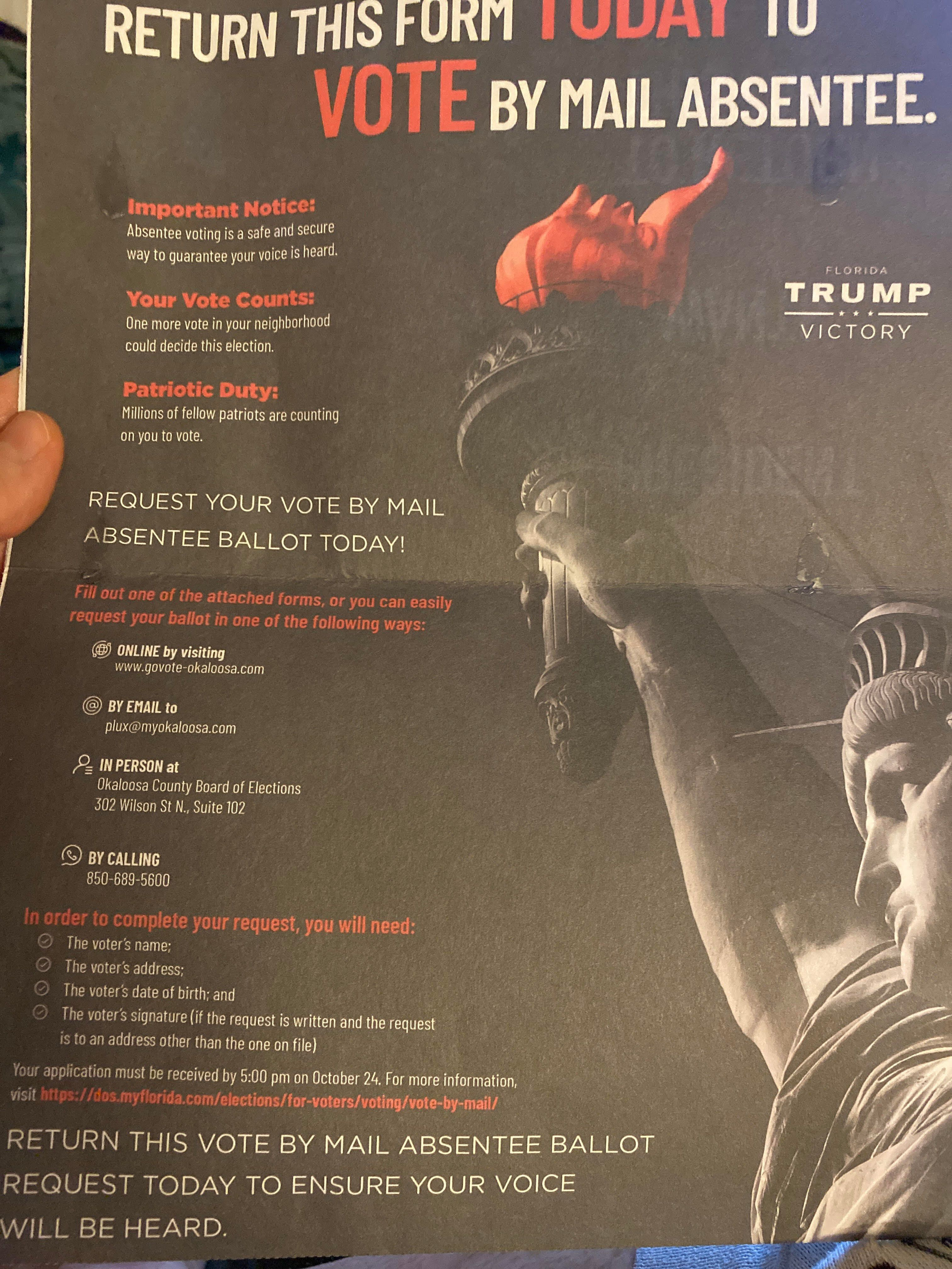 This absentee ballot request form went out to voters in Florida.