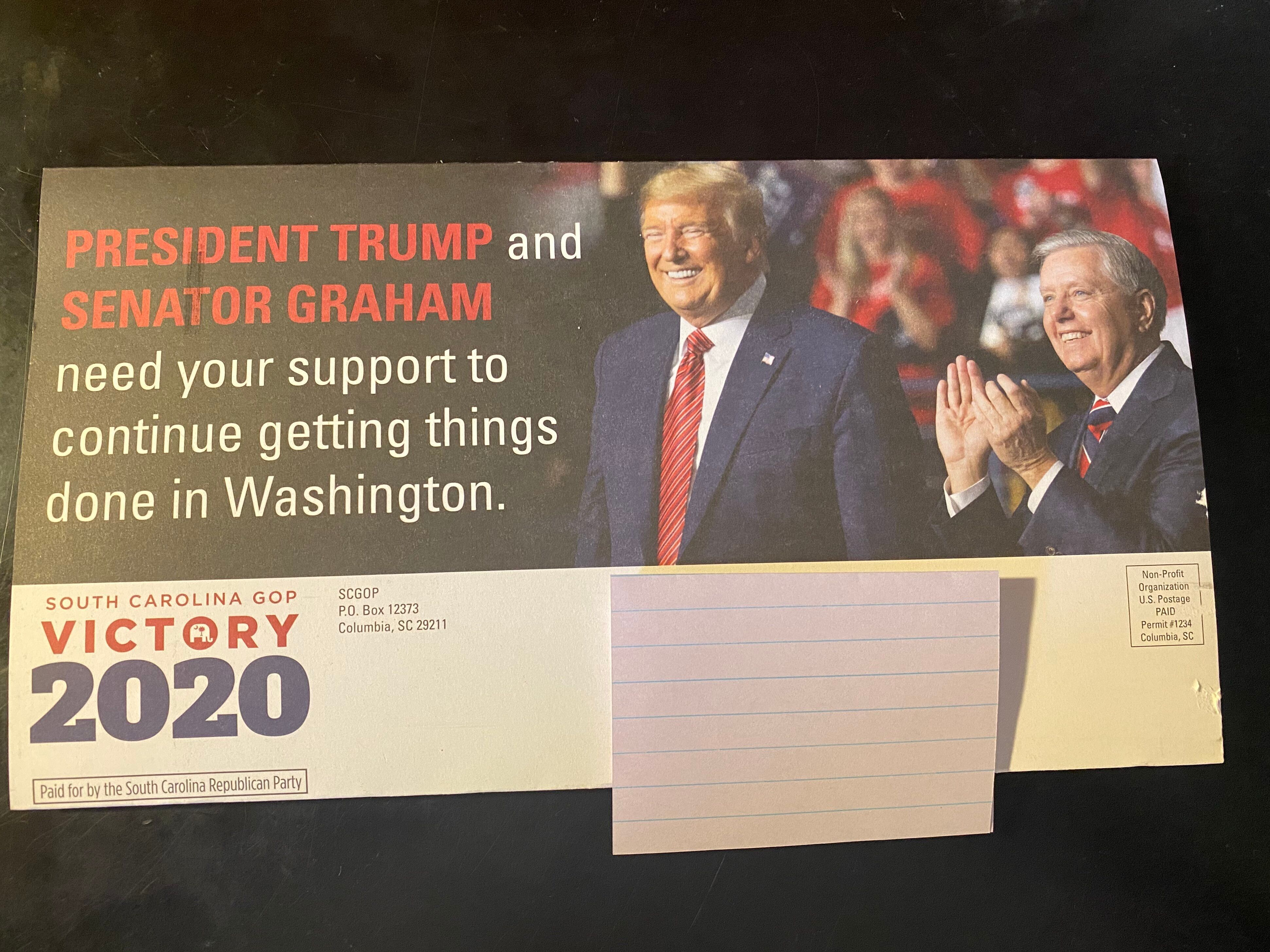 The mailer urges South Carolina Republicans to request an absentee ballot.