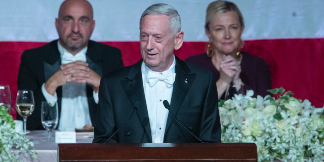 Former U.S. Secretary of Defense James Mattis, center, delivers the keynote address during the 74th Annual Alfred E. Smith Memorial Foundation Dinner, Thursday, Oct. 17, 2019, in New York. Trump on Tuesday claimed that he fired Mattis, a former Marine general. (AP Photo/Mary Altaffer)