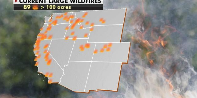 Current large wildfires burning across the West.