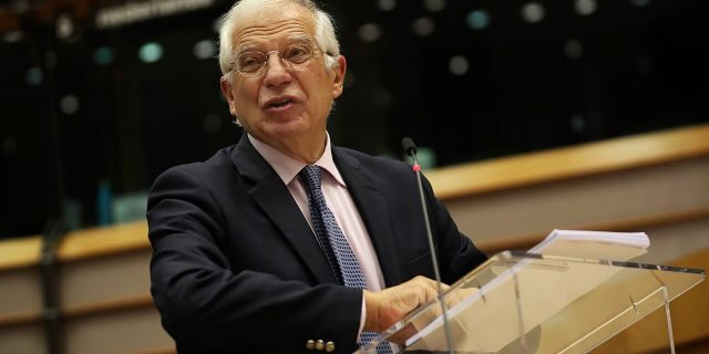 European Union foreign policy chief Josep Borrell addresses European lawmakers during a debate about the escalation of tensions between Greece and Turkey in the eastern Mediterranean, at the European Parliament in Brussels, Tuesday, Sept. 15, 2020. The dispute between the two nations over potential oil and gas reserves has triggered a military build-up in the eastern Mediterranean. (AP Photo/Francisco Seco, Pool)