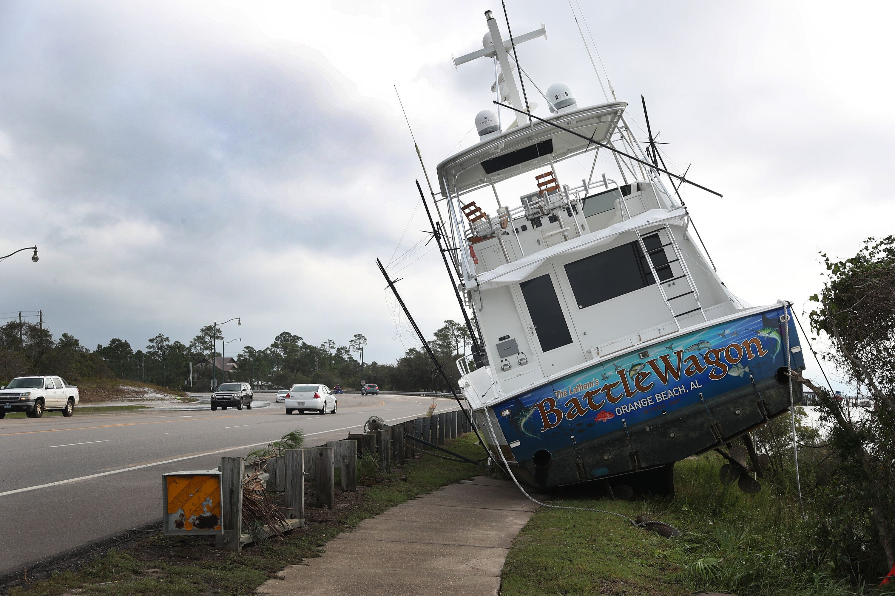A boat is seen washed up on shore after Hurricane Sally.