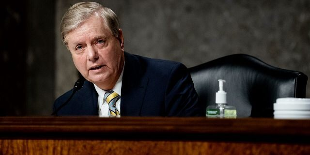 Committee Chairman Sen. Lindsey Graham (R-SC) speaks during a Senate Judiciary Committee hearing. Graham announced Saturday he supports President Trump getting a new justice on the court to fill Ruth Bader Ginsburg's vacancy. (Photo by Erin Schaff-Pool/Getty Images)