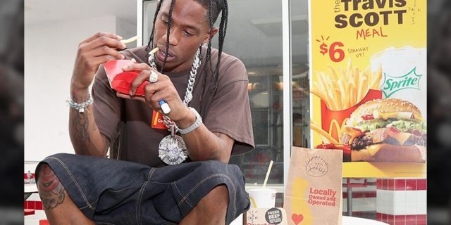 Travis Scott is seen enjoying a Travis Scott Meal at McDonald's.