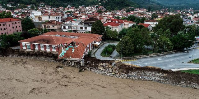 The medical centre of Mouzaki village is seen partially collapsed after a storm, near Karditsa town, Saturday, Sept. 19, 2020.