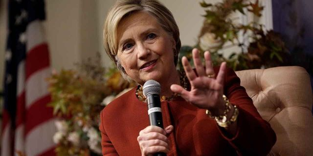 """Former U.S. Secretary of State and 2016 Democratic presidential nominee Hillary Clinton speaks at the Woman's National Democratic Club in Washington, U.S., November 2, 2017. Clinton Sunday accused President Trump and Senate Majority Leader Mitch McConnell of """"lust for power."""" REUTERS/Joshua Roberts - RC113EB26F20"""