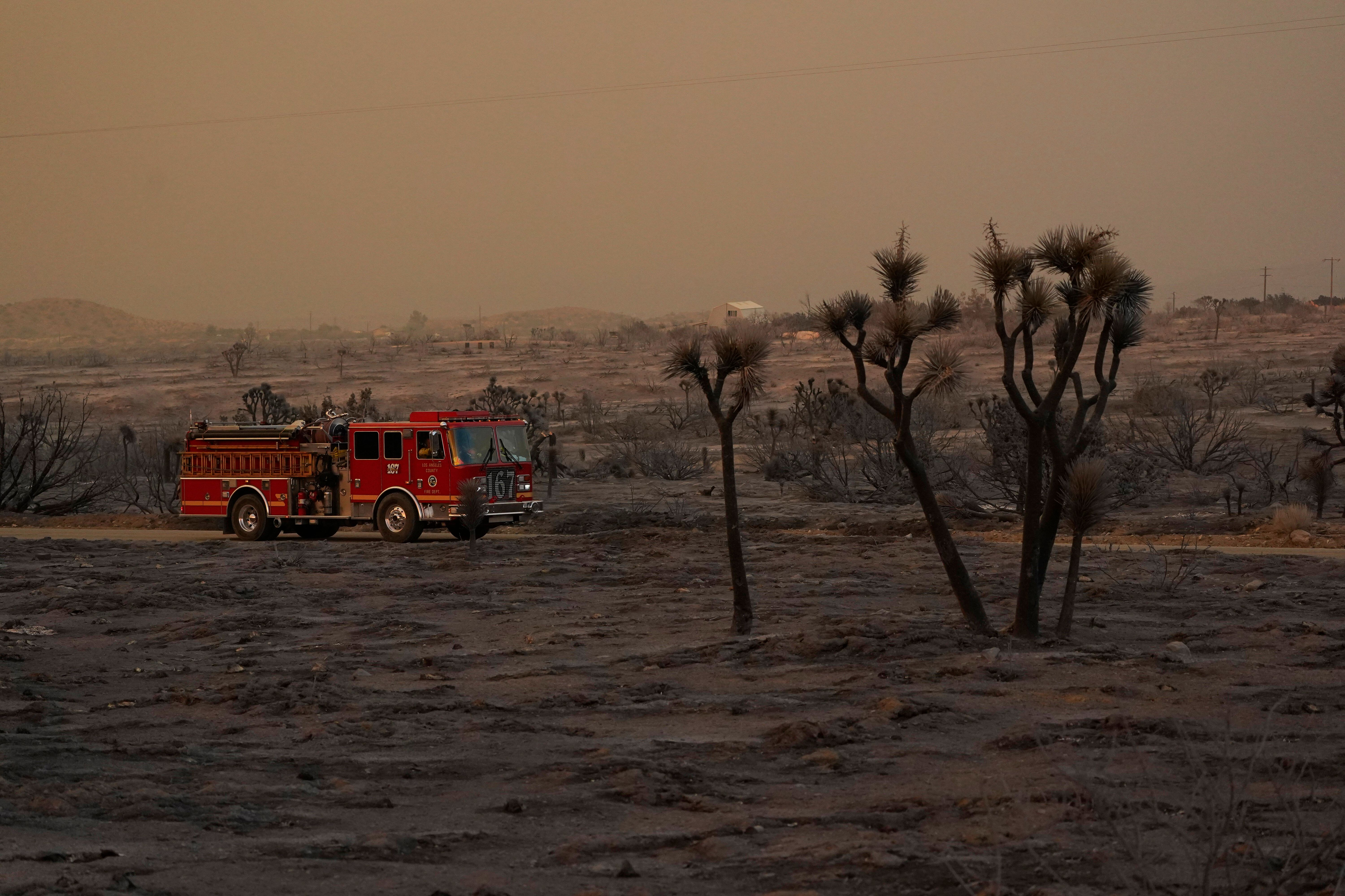A fire engine is driven through the devastation left behind by the Bobcat Fire on Saturday, Sept. 19, 2020, in Juniper Hills,