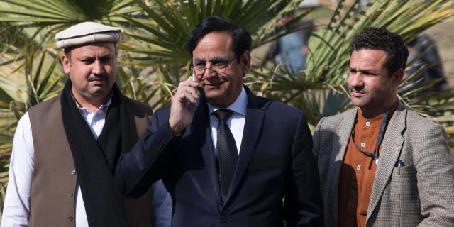 Saiful Malook, center, lawyer of Pakistani Christian Asif Pervaiz(AP Photo/B.K. Bangash)