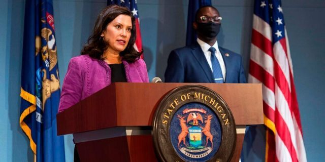 Gov. Gretchen Whitmer addresses the state during a speech in Lansing, Mich., Wednesday, Aug. 5, 2020. (Michigan Office of the Governor via AP)