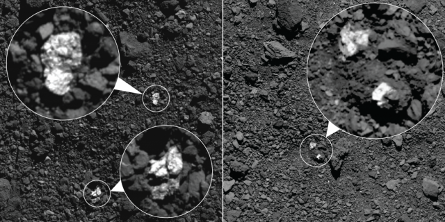 During spring 2019, NASA's OSIRIS-REx spacecraft captured these images, which show fragments of asteroid Vesta present on asteroid Bennu's surface. The bright boulders (circled in the images) are pyroxene-rich material from Vesta. Some bright material appear to be individual rocks (left) while others appear to be clasts within larger boulders (right). (Credits: NASA/Goddard/University of Arizona)