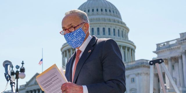 Senate Minority Leader Chuck Schumer, D-N.Y., holds a media briefing on the Supreme Court vacancy created by the death of Justice Ruth Bader Ginsburg, outside the Capitol in Washington, Tuesday, Sept. 22, 2020. (Associated Press)